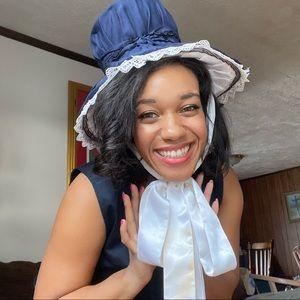 Vintage navy blue Mad Hatter satin tophat bonnet